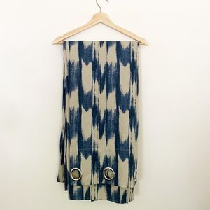WEST ELM Pair Blue Tan Abstract Curtains 108 in.